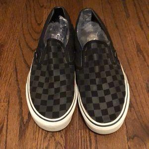 Vans classic checkerboard slip-on black gray 8.5